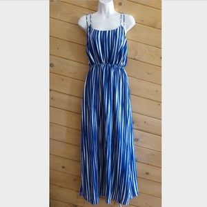Banana Republic Blue Stripe Criss Cross Maxi Dress
